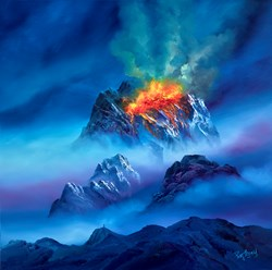 Volcanic Views by Philip Gray - Original Painting on Box Canvas sized 32x32 inches. Available from Whitewall Galleries